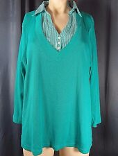 Studio Works Woman Green Twofer Shirt Layered Look Size 2X Plus
