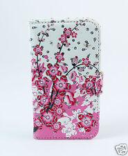 LG G4   5,5 Zoll Case Flip Tasche Hülle Blumen Frühling rosa weiß