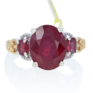 Sterling Silver Lead Glass Filled Ruby Ring - 925 Gold Plated Oval Cut 4.00ctw