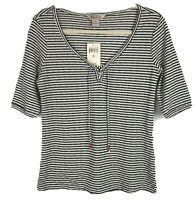 Lucky Brand Womens Size M Knit Top Shirt Stripe Lace Up Tie Neck Pullover NWT