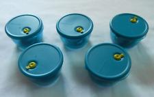 5 Tupperware Vent N Serve Aqua Blue Magnet Removeable Seals - Holds Change - New