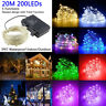 200 LED String Fairy Lights Silver Wire Battery Operated Waterproof Timer Lights