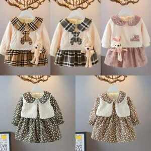 UK Kids Girls Princess Party Dress Print Birthday Fashion Long sleeve Skirt 2pcs