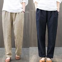 ZANZEA 8-24 Women Elastic Waist Stipe Pants Office Work OL Pinstripe Trousers