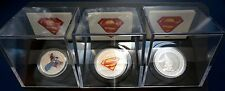 3 x 2013 75th Anniversary Superman Silver Coins Shield + Metropolis + Modern Day