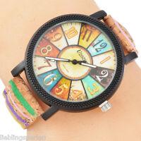 1 Damenuhr Armbanduhr Quarzuhr Analog Lederband Multifarbe Geschenk M23157 L/P