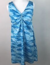 Kai Clothing Womens Aqua School Of fish Dress Tie Front Hawaii Sz M