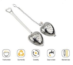 4 Psc Tea Infuser for Loose Tea Stainless Steel Heart Shaped Tea Strainer Spoon