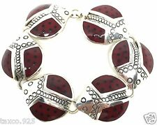 Red Ladybug Bracelet Mexico Taxco Mexican 925 Sterling Silver