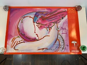 """Peter Max """"Peace by the Year 2000"""" I Love the World Series Signed Poster 1999"""