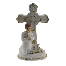 Communion Boy Praying Next to a Cross Dressed in White with Gold Accents