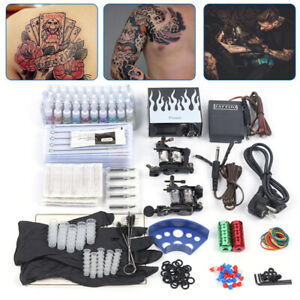 Professional Complete Tattoo Kit 2 Top Rotary Machine Gun 40 Color Ink 50 Needle