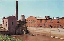Amana Iowa~Mill Stream~Hydro Power Plant~Woolen Mill~Smokestack~1960s Postcard