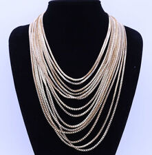 Summer Vintage Classic Multi-storey Gold Chain Chunky Choker Necklace Jewelry UK