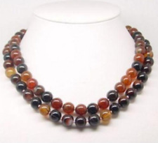 New natural round agate necklace gems 10mm 35inches long AAA