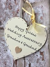 personalised handmade Golden 50th wedding anniversary wooden heart gift/present