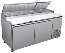 Chef's Exclusive 71in 2 Double Door Commercial Pizza Prep Table Cooler - 9 Pans