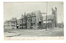 PA - BRADFORD PENNSYLVANIA 1908 Postcard CATHOLIC SCHOOL PARSONAGE CHURCH