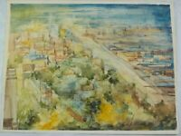 Vintage Watercolor Panoramic City View by Spanish Artist Fernando Casas Castanos