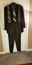Jos A Bank Wool Charcoal Gray suit with  Blue shirt and 3 ties.