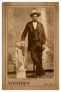 JOHN WESLEY HARDIN Infamous Old West Gunfighter Outlaw Cabinet Card A+ RP CDV