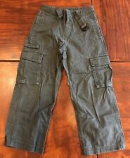 Boy's Old Navy Flat Front Cargo Army Green Pants (Size: 7 Reg.) With Belt