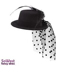 Fascinator Mini Black Top Hat Fancy Dress Moulin Victorian Burlesque 13cm