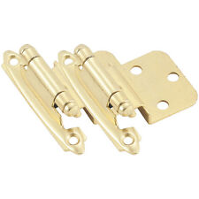 Pair Polished Brass P139-3 Hickory Non-Self-Closing Flush Mount Cabinet Hinges