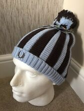 db7720c4344 Fred Perry Double Layered Lambswool Blend Blue   Brown Stripe Bobble Hat