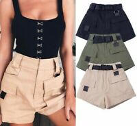 Women High Waist Loose Wide Leg Cargo Shorts Vintage Pocket With Belt S3
