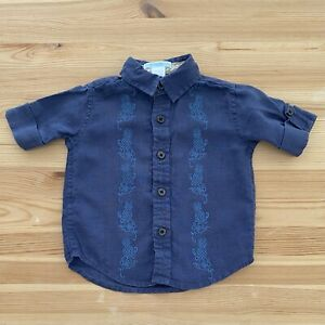 JANIE AND JACK Island Bound Blue Linen Pineapple Shirt Size 3-6-12 Months