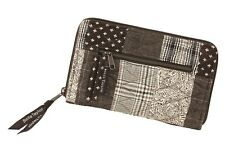 OXFORD Wrist Strap Wallet Quilted Patchwork Brown Tweed Floral  Bella Taylor