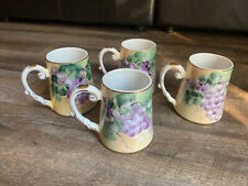 Antique Roseville Pottery Large Handpainted Mugs Grapes