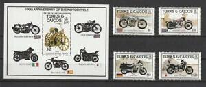 Turks And Caicos Islands From 1985 Mint Minr 757-760 Block 62 Motorcycles
