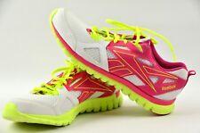 Reebok Sublite Ortholite Pink White Neon Yellow Womens size 10 Running Shoes