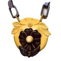 Ooak Flower Necklace, Wood & Butterscotch Bakelite on Unusual Wood Link Chain