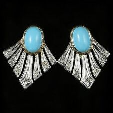 TURQUOISE AND DIAMOND FAN EARRINGS 9CT GOLD