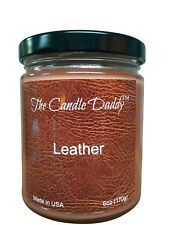 Leather Scent 6 oz jar candle by The Candle Daddy 40 plus hour burn