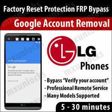 LG FRP Google Account Removal Remote Service G3 G4 G5 G6 V10 V20 K3 K7 K10