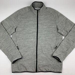 HILL CITY Tech Track Jacket Mens Large Heather Gray 2-Way Zipper San Francisco