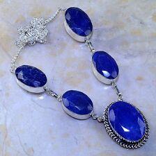 hecho a Mano Azul Piedra Preciosa Zafiro Plata de ley 925 Collar 52.1cm m55131