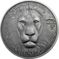 Ghana 5 Cedis 2013 Lion Head Silver Ounce Antique Finish Münze Löwenkopf