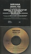 NIRVANA Drain you ULTRA RARE 1996 PROMO Radio DJ CD Single USA MINT  PRO CD 1070