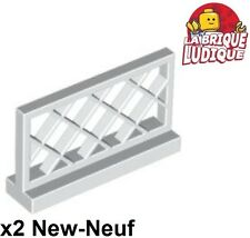 Lego - 2x Fence barrière cloture grille 1x4x2 blanc/white 3185 NEUF