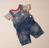 Matalan Baby Boys Striped T-shirt & Blue Monster Dungarees Outfit 0-3 Months Top