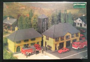 Primex 1703 - Feuerwehrhaus mit Schlauchturm - Feuerwehr - H0 Eisenbahn -NEU&OVP