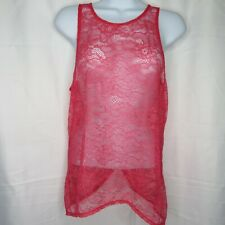 Vintage Victoria's Secret Red Sheer Lace Cami Top M Pajama Criss Cross Back