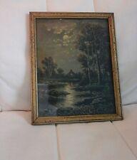 Antique, Vintage Z. Pritchard Print in Gold antique wood frame landscape cottage