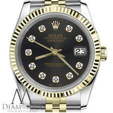 Black Face Men's Rolex 36mm Datejust 18K 2 Tone Diamond Accent Jubilee Watch