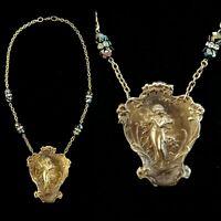 Vintage Art Nouveau Goddess Garden Nymph Crystal Necklace Beautiful!